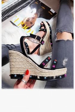 Czarne Zamszowe Sandały na Koturnie - Kolorowe Kamienie 8257