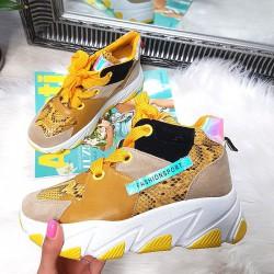 Kolorowe Adidasy Na Koturnie - Żółty 8440