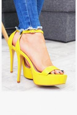 Żółte Sandały na Platformie Szpilka 7425