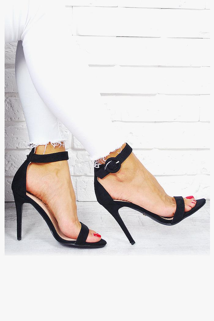 Kobiece Czarne Sandały Zamsz 7666