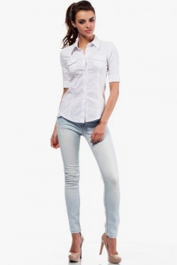 Klasyczna taliowana koszula z krótkim rękawem biała