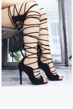 Czarne Sandały Sznurowane Gladiatorki 7310