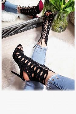 Sandały Sexy Zamszowe Czarne Ażurowe 8252
