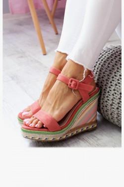 Sandały PAULA Różowe Kolorowa Koturna