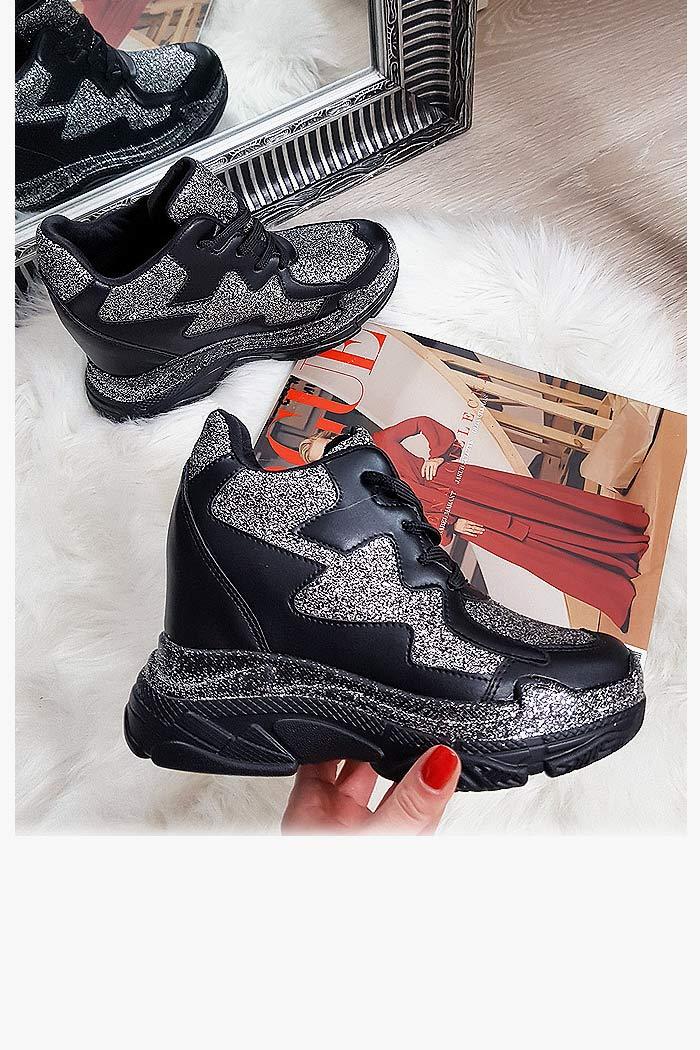 Sneakersy Czarne na Ukrytej Koturnie Trampki 8147