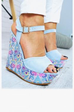 Sandały Błękitne Zamszowe Koturn w Kwiatki 7777