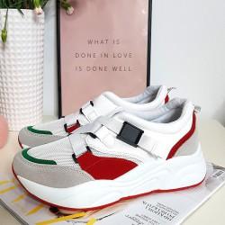 Białe Adidasy w Czerwono Szare Wstawki 8379