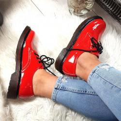Krótkie Martensy w Czerwony Lakier 8768