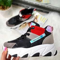 Kolorowe Adidasy Na Koturnie - Czarny 8434
