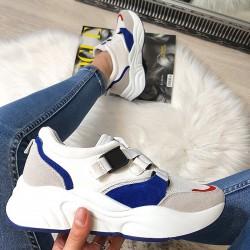 Niebiesko Białe Modne Adidasy 8387