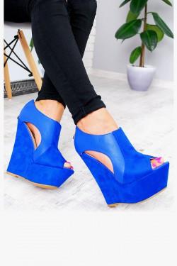 Sandały Niebieskie Wycięcia Eko+Zamsz 7574