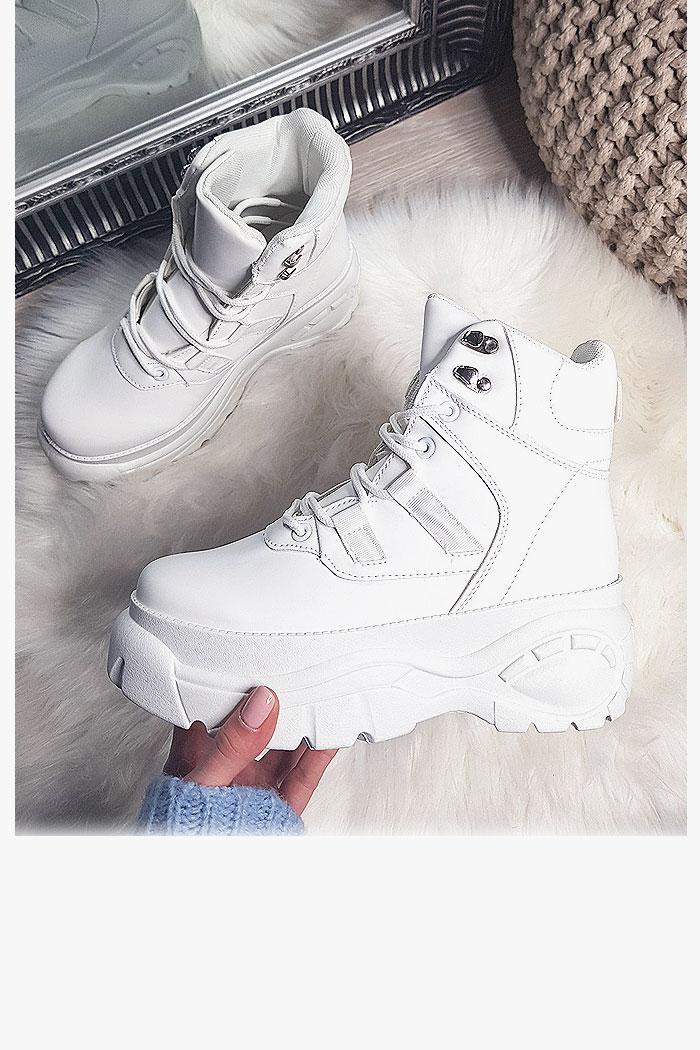 Sneakersy Białe Zabudowane Adidasy 8198