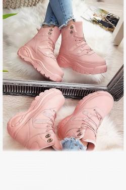 Sneakersy Różowe Zabudowane Adidasy 8177