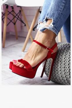 Sandały CECILIA Czerwone - Pasek na Kostkę