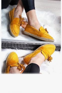 Żółte Zamszowe Mokasyny Frędzle 8289