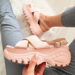 Różowe Zamszowe Modne Sportowe Sandały 8371