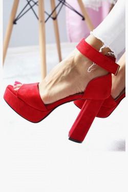 Sandały AMELIA Czerwone na Słupku