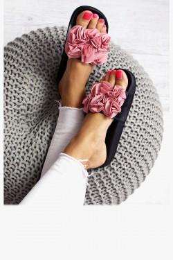 Klapki KIKI Czarne - Różowe Kwiaty