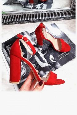 Zamszowe Czerwone Sandały na Słupku 8285