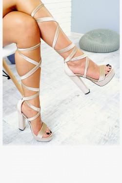 Wiązane Beżowe Sandały Welur 7708