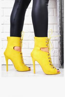 Wysokie Żółte Botki Złote Sprzączki 7545