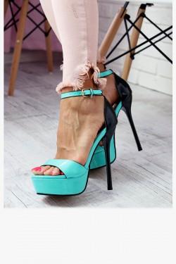 Sandały Miętowe Lakierowane Smukła Szpilka