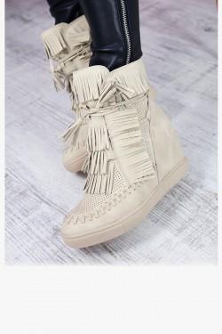 Beżowe Sneakersy z Frędzlami Zamszowe Koturny 7209