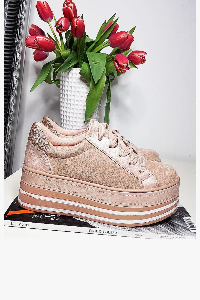 Trampki Różowe Zamszowe Creeapersy 8155