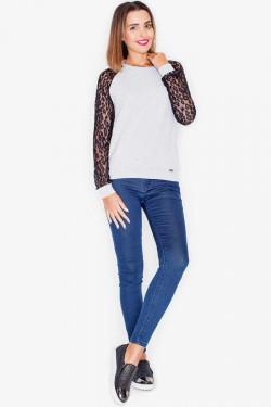 Bluzka Sleeve Lace Ecru/Grey