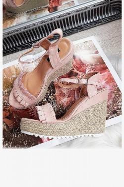 Sandały na Sznurkowej Koturnie Pastelowy Róż 8290