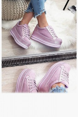 Trampki Sneakersy Fioletowe Creepersy 8183