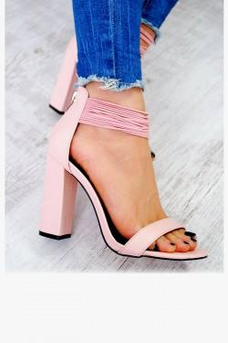 Sandały Delikatne Gumeczki Pudrowy Róż 7510
