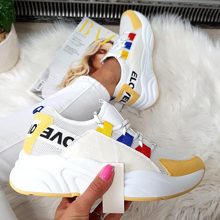 Białe Adidasy z Żółtym Przodem 8426