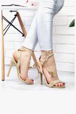 Beżowe Sandały Wiązane na Kostce 7369