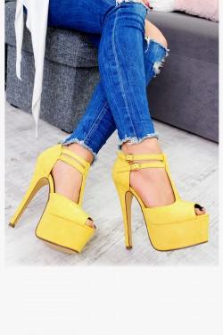 Zamszowe Żółte Sandały Delikatne Paseczki 7505