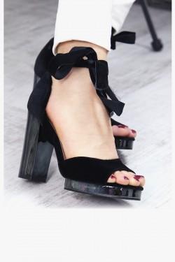 Welurowe Czarne Sandały na Platformie 7341
