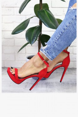 Zamszowe Czerwone Sandały Szpilka 7334