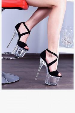 Sandały Czarne Zamszowe Pole Dance 8096