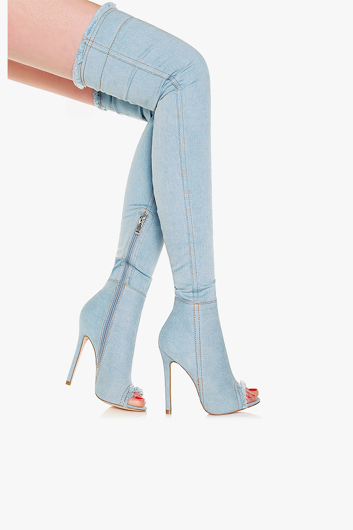 Kozaki Na Szpilce Jeans New