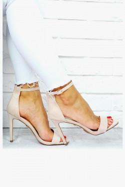 Delikatne Beżowe Sandały Klasyka 7657