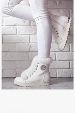 Sneakersy Claudette Modne Białe Futro 6928