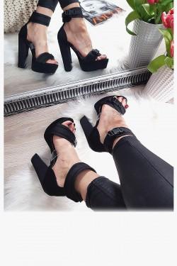 Sandały Czarne z Silikonowym Paskiem 8149