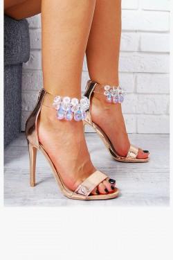 Szampańskie Sandały Silikonowy Pasek z Kryształkami 7805