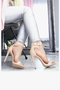 Beżowe Sandały na Szpilce 7321