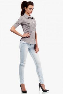 Klasyczna taliowana koszula z krótkim rękawem  brązowa
