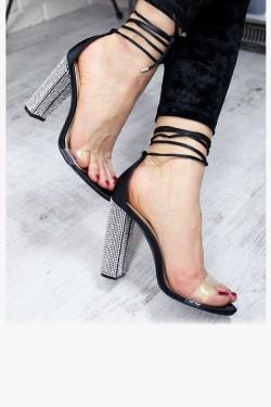 Satynowe Czarne Sandały na Cyrkoniowym Słupek 7281