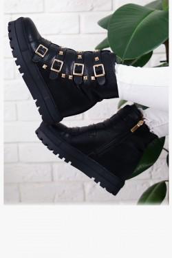 Czarne Sneakersy Złote Klamry Botki 7233