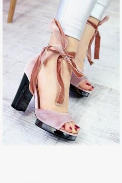 Welurowe Różowe Sandały na Platformie 7352