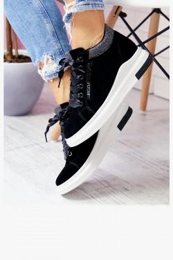 Sneakersy IVANA BLACK Suede Glitter