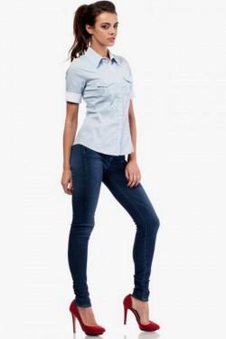Klasyczna taliowana koszula z krótkim rękawem błękitna